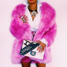 Wearing my beloved pink fluffy jacket & necklace fr Pink Fluffy Jacket, Looks Style, My Style, We Wear, How To Wear, Pink Photo, Fendi, Vogue, Everything Pink
