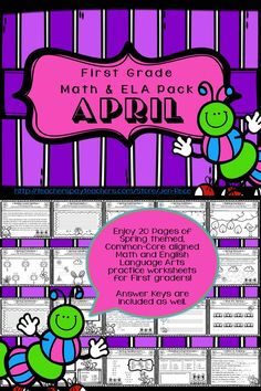 This Common Core Aligned, 20 page (NO PREP) Spring-themed worksheet packet is an excellent Math and ELA practice resource pack for first graders!  https://www.teacherspayteachers.com/Product/Common-Core-First-Grade-April-Spring-Math-English-Language-Arts-Pack-No-Prep-1804610