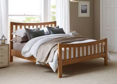 Our Sherwood oak veneered wooden bed frame complements both traditional and contemporary rooms with its classic design and beautifully crafted details. Modern Wooden Bed, Rustic Wood Bed, Solid Wood Furniture, Bed Furniture, Furniture Ideas, Wooden Bed Frames, Wooden Beds, Wooden Sofa, Platform Bed Designs
