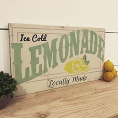 Lemonade Sign - Vintage Ice Cold Lemonade Wood Sign - Sign for Lemonade Stand - Lemonade Decor - Summer Decor - Farmhouse Sign - Summer Sign