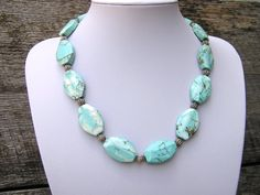 Statement Necklace, Gemstone Jewelry, Stone Bead Necklace, Bead Necklace Women, Chunky Necklace, Gift for Her, Something Blue