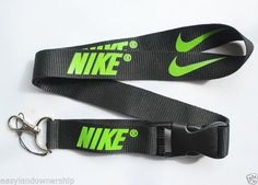 Nike Sport Lanyard Key Chain ID Strap BLACK with LIME GREEN ☆FREE USA SHIPPING ☆