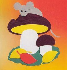 аппликация гриб с мышкой