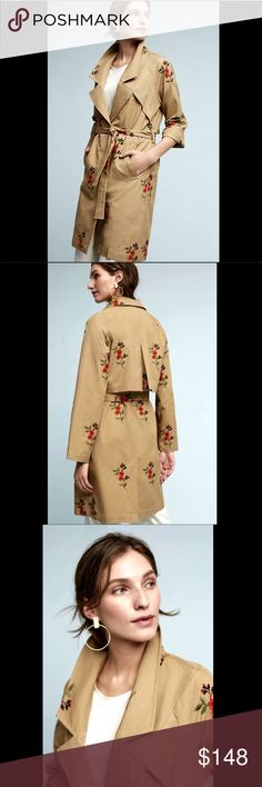 """Cartonnier Embroidered Belted Trench Duster Coat S Anthropologie Cartonnier Khaki Tan Embroidered Belted Trench Duster Coat woven cotton with orange red green & black embroidered flowers  1 button front with removable belted waist * angled pockets unlined with contrast light blue seams New With Tags  *  Size:  Small retail price:  $178.00  100%  cotton 70% poly *  30% cotton trim  40"""" around bust 24"""" sleeves 40"""" around waist  37"""" long Anthropologie Jackets & Coats Trench Coats"""