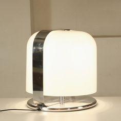 Luigi Massoni; Plastic and Chromed Metal 'Alvise' Table Lamp for Guzzini, 1966.