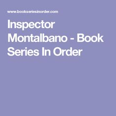 Inspector Montalbano - Book Series In Order