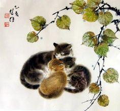 Chinese Painting of three cats Chinese Artwork, Japanese Artwork, Japanese Painting, Chinese Painting, Art And Illustration, Illustrations, Botanical Illustration, Asian Cat, Art Japonais