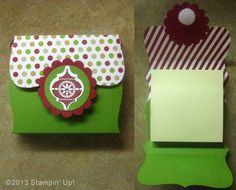Stampin' Up! Cards - Post It Note Holder, Verry Merry Tags stamp set, Mosaic Punch, Season of Style Designer Series Paper, Top Note Die