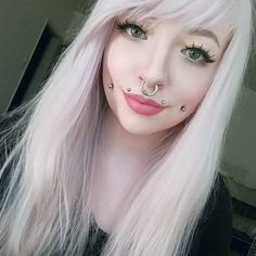 Beauties with strong personality and expression and stretched septum rings from Feel free to submit your own facial pictures to express yourself. Spiderbite Piercings, Dimple Piercing, Piercings For Girls, Facial Piercings, Body Piercing, Angel Bites Piercing, Piercing Surface, Labret Vertical, Stretched Septum