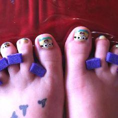 Minion toe nails.