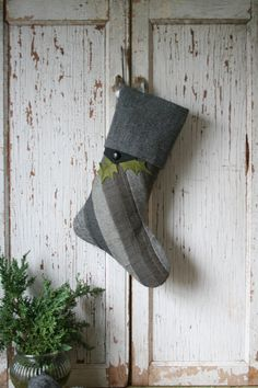 Gray Wool Patchwork Christmas Stocking  Tweed Holly by SmokinTweed