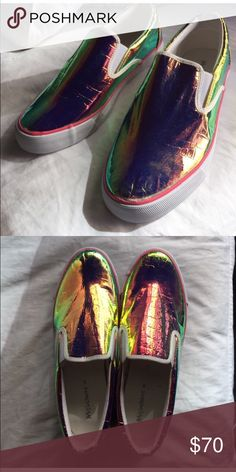 HP 11/10Slip-on holographic sneakers Label and box say 9 but it really fits a 10 Shoes Sneakers