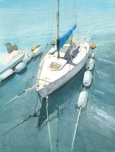 ヨット3,Sail boat 3,Original Watercolor painting by Masato Watanabe
