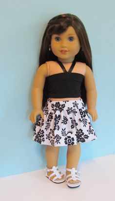 American Girl doll black and white flowered skirt and black knit bandeau top