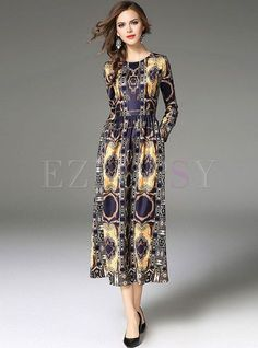 65ca70cf2948 Shop for high quality Vintage Floral Print Long Sleeve Maxi Dress online at  cheap prices and discover fashion at Ezpopsy.com
