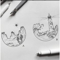 Want something like the lighthouse one to match my hot air balloon tattoo 😍 - Leuchtturm Tattoo - Tattoo P, Tattoo Quotes, Tattoo Thigh, Air Balloon Tattoo, Circle Drawing, Pen Art, Doodle Art, Art Sketches, Tattoo Sketches