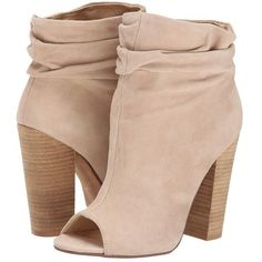 Kristin Cavallari Laurel Slouch Bootie (New Nude Kid Suede) Women's... (1.000 DKK) ❤ liked on Polyvore featuring shoes, boots, ankle booties, heels, ankle boots, booties, nude ankle boots, suede ankle boots, stacked heel booties and open toe ankle boots