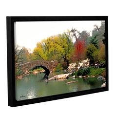 Saturday Central Park by Linda Parker Floater Framed Photographic Print on Gallery Wrapped Canvas
