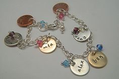 Personalized mixed metal hand stamped charm bracelet with birthstone crystals. Perfect for mom or grandma <3