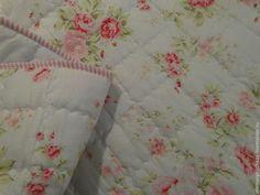 Стеганый плед шебби-шик - бледно-розовый,цветочный,шебби-шик,стеганый плед