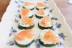 Easy salmon, cream cheese and cucumber canape