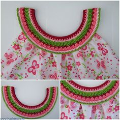 Baby Knitting Patterns, Baby Dress Patterns, Crochet Square Patterns, Crochet Designs, Col Crochet, Puff Stitch Crochet, Crochet Fabric, Bead Crochet, Hand Smocking Tutorial