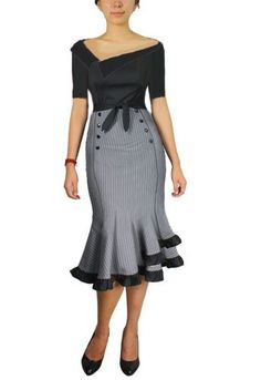 Blueberry Hill Fashions : Plus Size Women's Fashion Designs- looking at the skirt style. Rockabilly Fashion, Retro Fashion, Vintage Fashion, Womens Fashion, Rockabilly Dresses, Rockabilly Style, Classy Fashion, Fashion Tips, Pretty Outfits