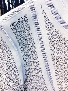 Laser cut leather fashion; White leather Highline Jacket; Patterns, texture, layering