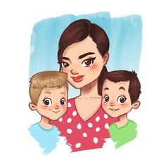 "256 aprecieri, 1 comentarii - ELIANA BOGDAN (@elianabogdan) pe Instagram: ""Happy family❤ #illustration #digitalart #portrait"""