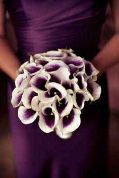 White & purple calalilies Wedding Bouquet by SUZIE Q
