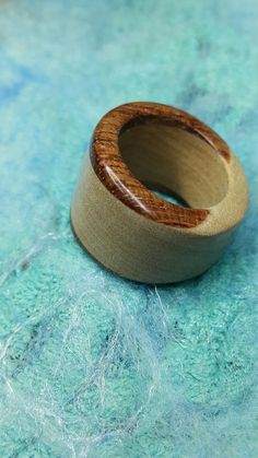 Olcay made this wooden ring October 16 Maple & Purpleheart + carnauba 70
