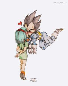 Bulma and Vegeta Dragon Ball Z, Dragon Z, Dbz, Arte Copic, Nerd Geek, Anime Love, Chibi, Sketches, Drawings