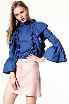 Go West Ruffled Denim Blouse Discover the latest fashion trends online at storets.com