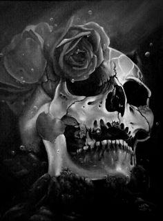 Skull and roses. Style Punk Rock, Gif Terror, Brust Tattoo, Totenkopf Tattoos, Skull Pictures, Skull Artwork, Skeleton Art, Skull Wallpaper, Sugar Skull Art