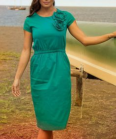 Another great find on #zulily! Teal Rosette North Shore Dress #zulilyfinds