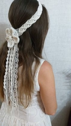 Macrame Headband, Boho Headband, Bohemian Beach Wedding, Hippie Headbands, Wedding Gloves, Lace Gloves, Pearl And Lace, Bride Accessories, Festival Wedding