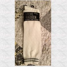 New Listing Comfy Over The Knee Socks Super comfy white over the knee socks with gray stripes around the band. Size 9-11. PP Trades Holds Steve Madden Accessories Hosiery & Socks