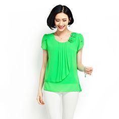 Blusa de la gasa 2016 verano tops mujeres camisas Blusas flojas Ocasionales de la camisa de manga Corta O-cuello blusas tallas grandes blusas feminina 4XL