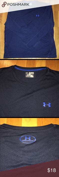 Awesome Under Armour Heat Gear Men's Shirt XXL Really nice Under Armour Heat Gear long sleeve men's top in deep blue color with contrasting royal blue UA Logo, and back logo. Accent stitching and mesh material on sides. Top is in excellent condition and is extremely comfortable! From a smoke/pet free home. Size XXL Under Armour Shirts