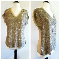 """Chan Luu Sequin Embellished Silk Top Perfect condition. Raw silk in back. Rayon in front (where sequins are) Sheer in back. Sequins look like seashell colors close up :) Size XS but runs very large. Re-poshing because it does not fit me how I expected. Armpit to armpit is 20"""" laid flat. Shoulder to hemline is 25"""". Waist is 17.5"""" flat across. Chan Luu Tops"""