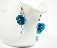 Blue rose and Swarovski #earrings #Polymer clay #Israel by nesluxury, $25.00
