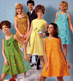 fashion 1960s: shorter, simple, colorful, plethora of designs/options, lightweight fabrics (silhouette more critiqued), chiseled and almond-shaped toe shoes, bikini came about.
