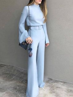 Mode reine Farbe halber hoher Kragen-Blau-Anzug - Carly - - Care - Skin care , beauty ideas and skin care tips Looks Chic, Looks Style, Classy Outfits, Chic Outfits, Beautiful Outfits, Blazer Outfits, Jean Outfits, Look Fashion, Womens Fashion