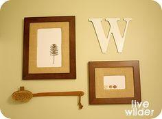 burlap matted frames in bathroom  -  interesting