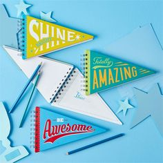 Pennant Spiral Note Pad Asst 3 Designs © Two's Company
