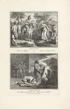 Jacob Folkema | Ontmoeting van David en Abigaïl, en Saul bij de heks van Endor, Jacob Folkema, 1702 - 1767 | Twee Bijbelse voorstellingen uit 1 Sam. 25 en 1 Sam. 28. Abigaïl ontmoet haar toekomstige echtgenoot David, en Saul spreekt met Samuels geest bij de heks van Endor. Twee voorstellingen van één plaat, elk voorzien van een titel in het Nederlands en Frans. Geheel rechtsonder genummerd: 54.