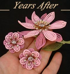 Colossal Vintage Signed LISNER Flower BROOCH EARRINGS Rhinestone Enamel Beaded Open-work c.1950's!