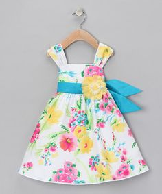 Take a look at this White & Yellow Floral Dress - Girls by Blow-Out on #zulily today!#Fall