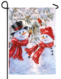 Snowman Sweethearts Satin Outdoor Flag by Evergreen Christmas Scenes, Christmas Pictures, Christmas Snowman, All Things Christmas, Christmas Holidays, Christmas Crafts, Christmas Decorations, Christmas Ornaments, Winter Things