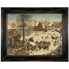 Historic Art Gallery 'The Numbering at Bethlehem 1566' by Pieter Brueghel the Elder Framed Painting Print
